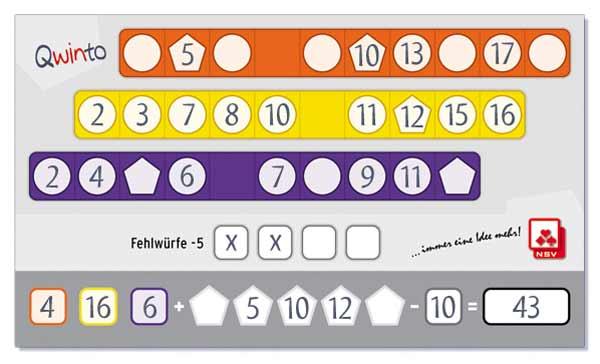 Zahlenreihe bei Qwinto - Foto von NSV