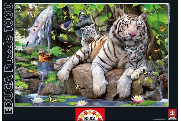 Puzzle Bengalische weiße Tiger - Foto von Educa