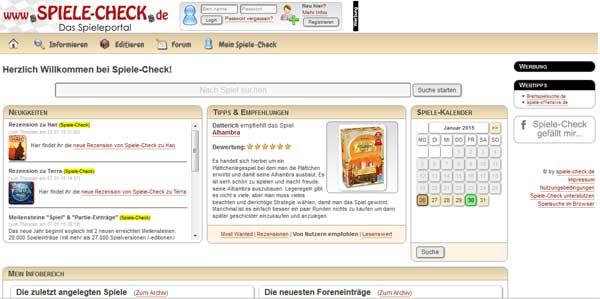 Die Webseite von spiele-check.de