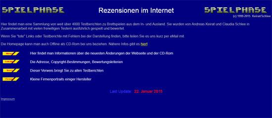 Die Webseite spielphase.de von Andreas Keirat