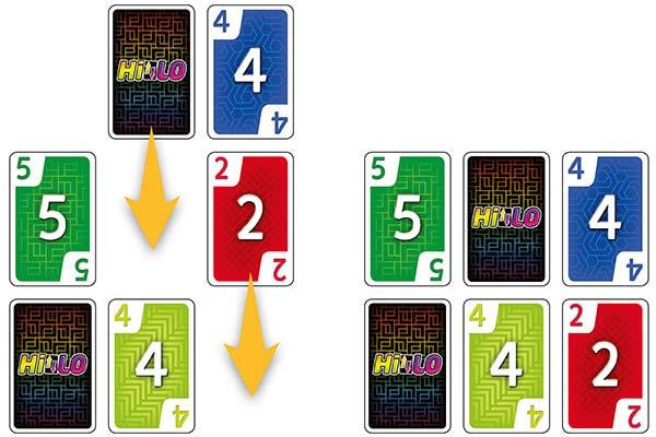 Kartenspiel HiLo - Reihen zusammenschieben - Foto von Schmidt Spiele