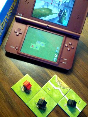 Das Spiel Carcassonne auf dem Nintendo DS und als Brettspiel
