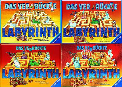Vier Beispiele für die Modernisierung der Schachtel von Das verrückte Labyrinth von Ravensburger