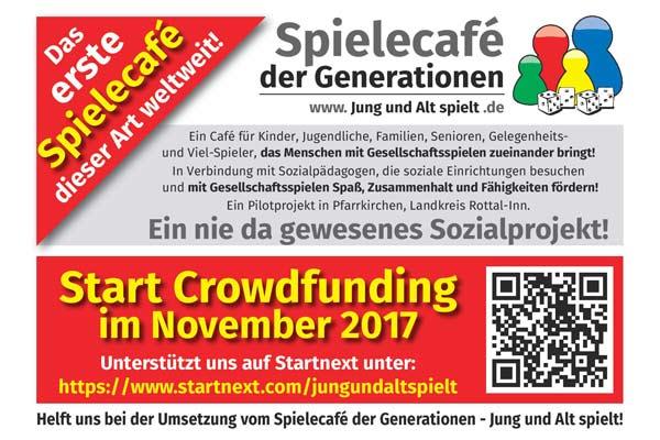 Crowdfunding für das Sozialprojekt Spielecafe der Generationen