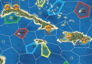 Ein kleiner Ausschnitt aus dem Spielplan von Karibik von Reich der Spiele