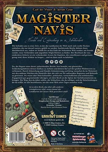 Magister Navis - Rückseite der Schachtel von Lookout Games