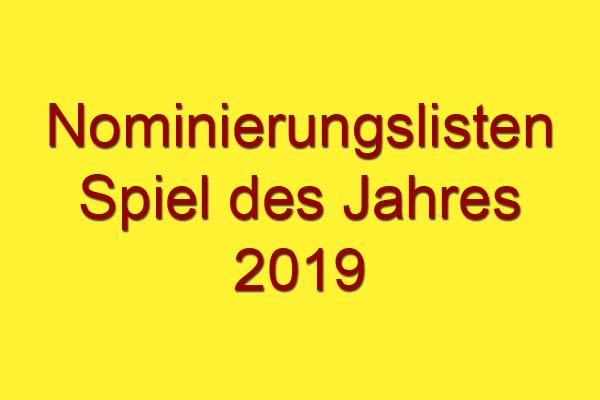 Nominierungslisten Spiel des Jahres 2019