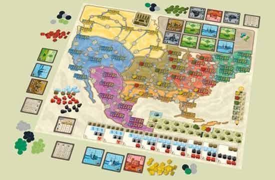 Nordamerikakarte mit Spielaufbau von Funkenschlag deluxe - Foto: 2F Spiele