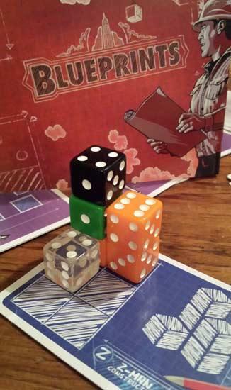 Würfelspiel Blueprints, Spielszene, Foto: Hendrik Breuer