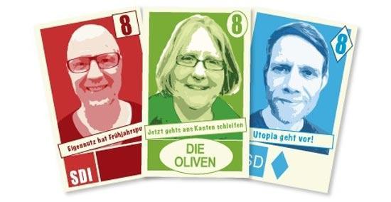 Kartenspiel Stimmvieh mit Klaus Lange, Andrea Meyer und Daniel Müllenbach - Foto Bewitched Spiele