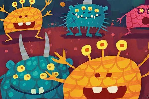 Monsterbande - Ausschnitt - Foto von Drei Hasen in der Abendsonne
