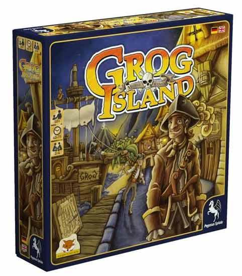 Schachtelgrafik des Brettspiels Grog Island - Foto eggertspiele - Pegasus