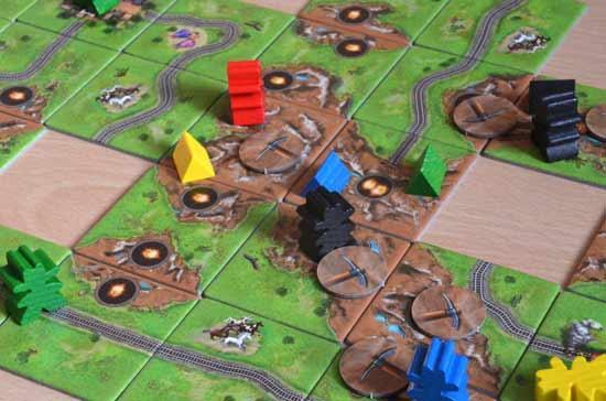 Carcassonne-Fan-Treffen 2014: Goldrausch Spielszene Minen