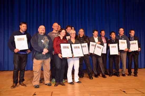 Spieleautoren und Verleger der platzierten Spiele beim Deutschen Spielepreis 2014