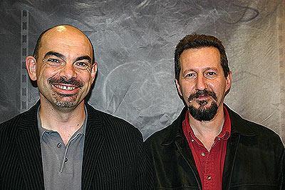 Bruno Cathala (links) und Serge Laget haben Schatten über Camelot entwickelt von Reich der Spiele