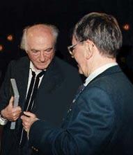 Alex Randolph (l.) und Herbert Feuerstein von Spielbox