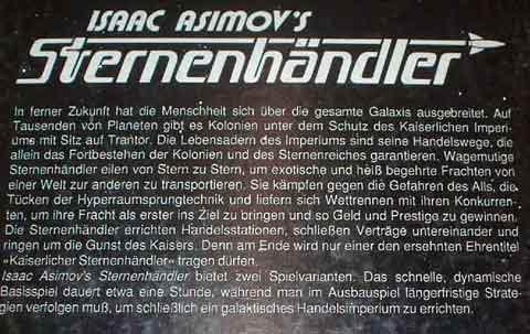 Isaac Asimov's Sternenhändler  - Schachtelrückseite - Foto von Roland G. Hülsmann