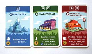 drei höherwertige Karten Machi Koro - Foto von Reich der Spiele
