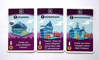 die drei besonderen Karten bei Machi Koro - Foto von Reich der Spiele