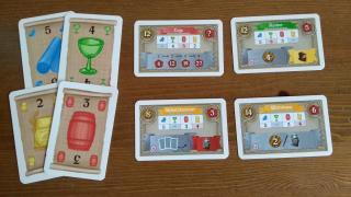 Das Bild zeigt Waren und Gebäudekarten aus dem Spiel Riga - Foto Dirk Janßen
